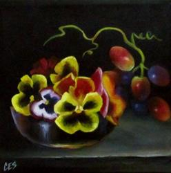 Art: Pansies in the Grape Dish by Artist Christine E. S. Code ~CES~