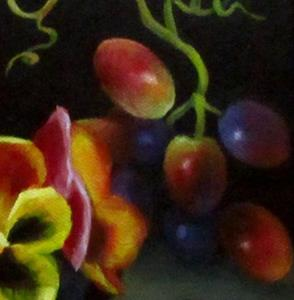 Detail Image for art Pansies in the Grape Dish