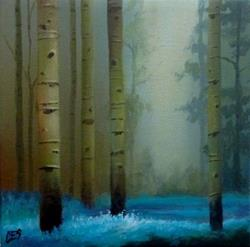 Art: Birch and Bluebells by Artist Christine E. S. Code ~CES~