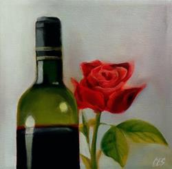 Art: Red Wine and Rose by Artist Christine E. S. Code ~CES~