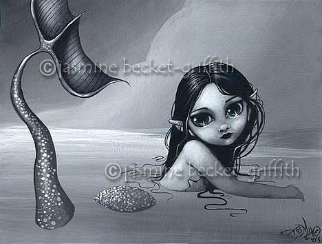 Art: A Silvery Mermaid by Artist Jasmine Ann Becket-Griffith