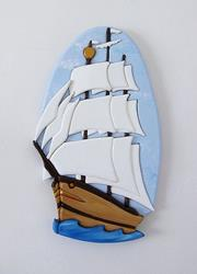 Art: SHIP AHOY INTARSIA ART by Artist Gina Stern