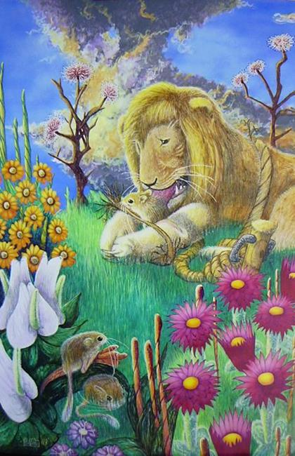 Art: The lion and The Mouse-Aesop's Fable by Artist Rob Robie