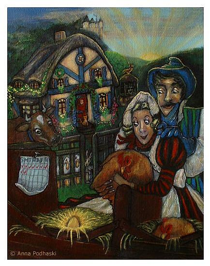 Art: A Cottager and his wife had a hen that laid a golden egg every day.  by Artist Anna Podhaski