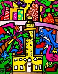 Art: Miami Pop Art Painting Cubism by Artist Alex Vera Pop Art