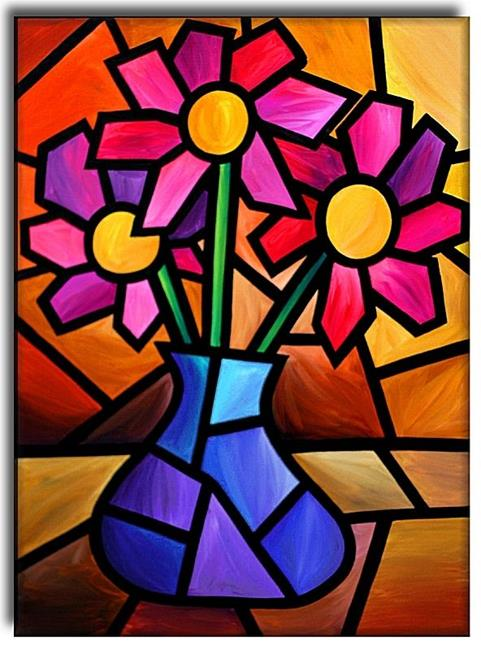 Flowers - by Amanda Hone from Contemporary Cubism Art Gallery | 481 x 650 jpeg 59kB