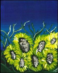 Art: Sunflowers at Twilight by Artist Indiamoss