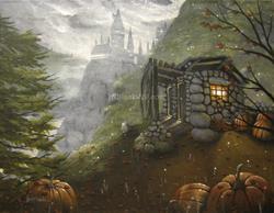 Art: Harry Potter Hogwarts Third Year Original Painting Fantasy art Hagrid Pumpk by Artist J A Blackwell