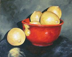 Art: Lemons and Red Bowl IV by Artist Torrie Smiley