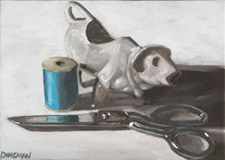 Art: Cow Creamer with Sewing Supplies by Artist Aimee L. Dingman
