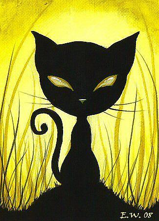 Golden Eyed Shadow Cat By Elaina Wagner From