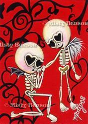 Art: Skellies In Love by Artist Misty Benson
