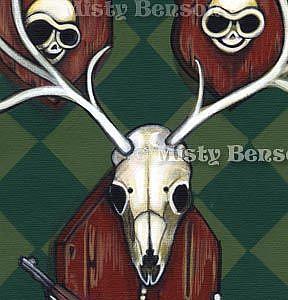 Detail Image for art When Skelly Deer Attack - Skeleton Art