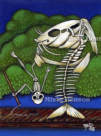 Art: When Skelly Fish Attack - Skeleton Art by Artist Misty Monster (Benson)