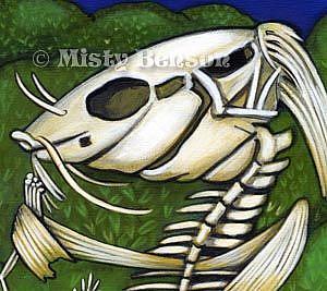 Detail Image for art When Skelly Fish Attack - Skeleton Art