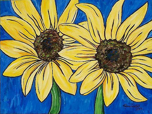 Art: Sunflower Twins by Artist Melanie Douthit