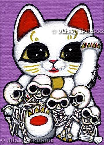 Art: Lucky Cat Skellies by Artist Misty Monster (Benson)