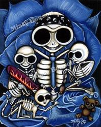 Art: Skelly Family Portrait by Artist Misty Benson