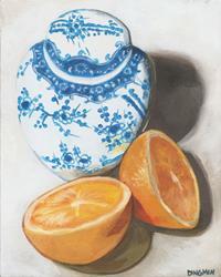 Art: Ginger Jar with Split Orange by Artist Aimee L. Dingman
