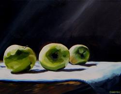 Art: Tablescape with Three Apples by Artist Aimee L. Dingman