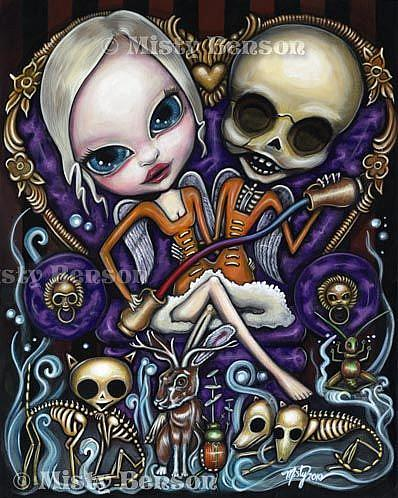 Art: Temperance - Morbidly Adorable Tarot - Siamese Twin Skeleton Art by Artist Misty Monster (Benson)