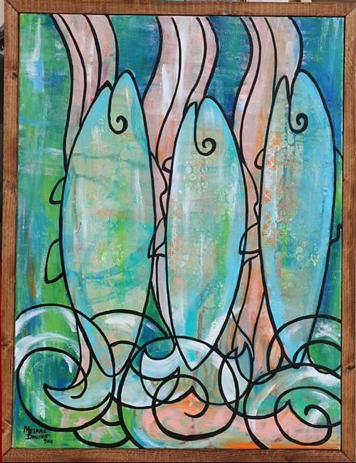 Art: Upstream Salmon by Artist Melanie Douthit