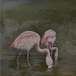 Art: Flamingos by Artist Aimee L. Dingman