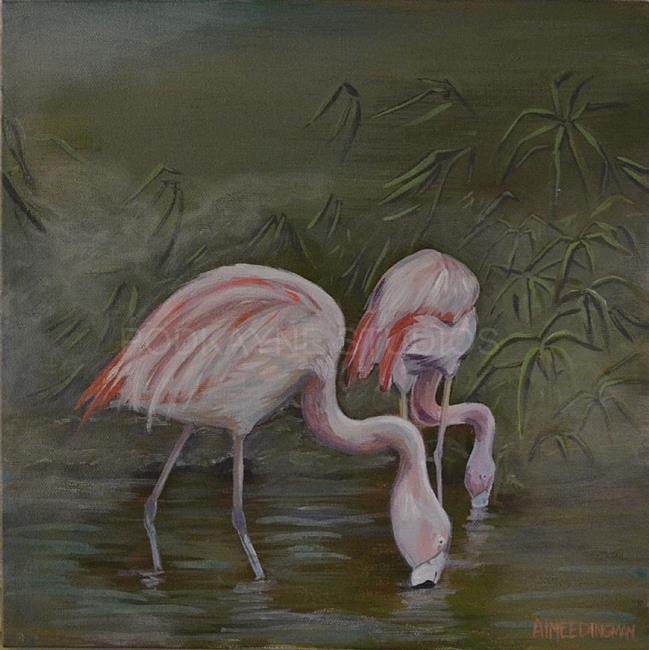Art: Flamingos by Artist Aimee L. Dingman