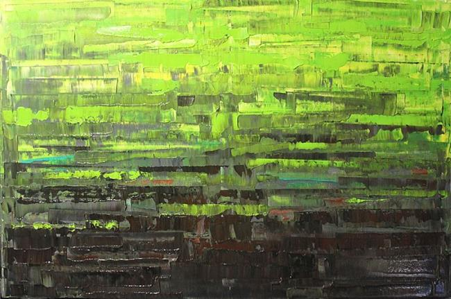 Art: Lime Green Abstraction 92 (s) by Artist Luba Lubin