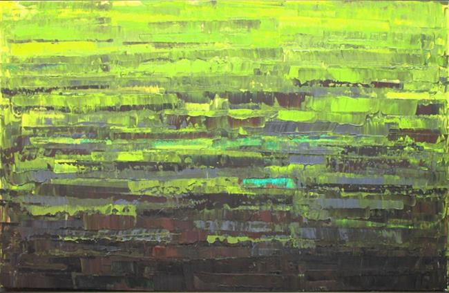 Art: Lime Green Abstraction 100 (s) by Artist Luba Lubin