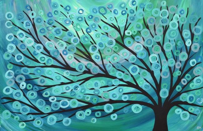 Art: Teal, Green, & Turquoise Abstract Tree Painting 30 x 20 by Artist Louise Mead