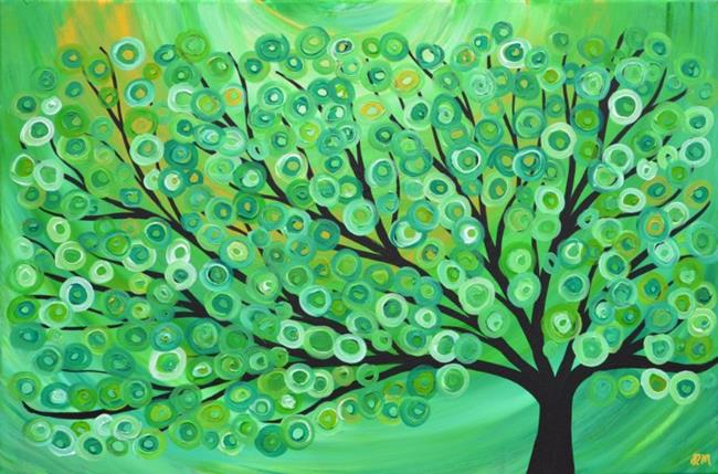Art: Green, Gold, Yellow, Lime, & White Abstract Circle Tree Painting by Artist Louise Mead