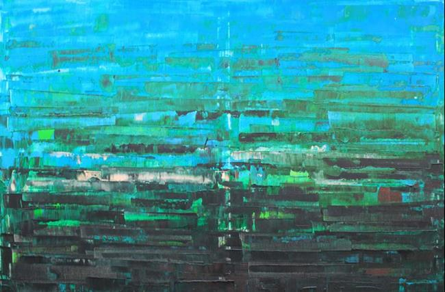 Art: Blue - Green Abstraction - 124 (s) by Artist Luba Lubin