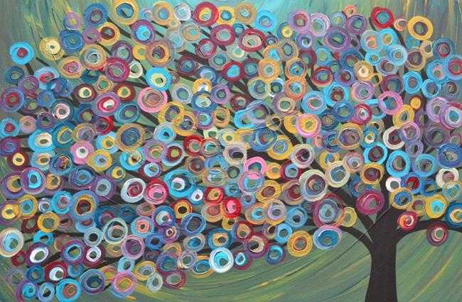 Art: Abstract Tree Painting by Artist Louise Mead