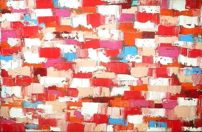 Art: Red Orange Abstraction 129 (s) by Artist Luba Lubin