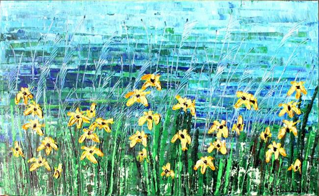 Art: Yellow Flowers by Artist Luba Lubin
