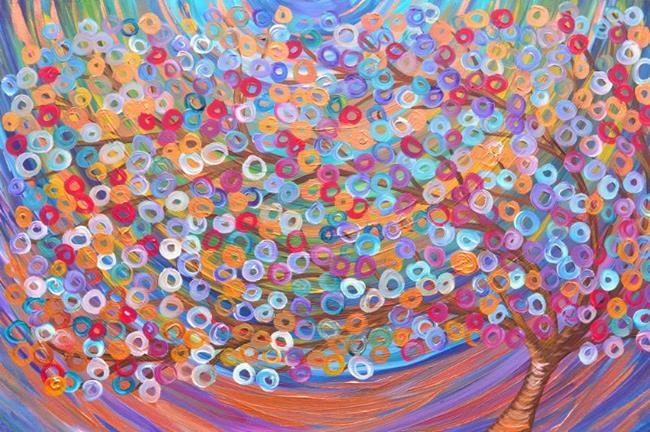 Art: a. Purple, Teal, Turquoise, Copper, Gold, Bronze, Red, & Green Abstract Tre by Artist Louise Mead