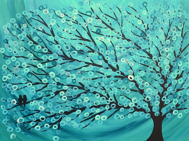 Art: Two Birds - Turquoise & Teal Abstract Tree Painting by Artist Louise Mead