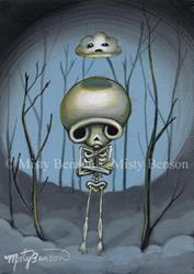 Art: Even Skellies Get The Blues - Skeleton Art Day of the Dead by Artist Misty Benson