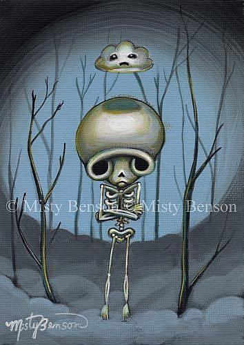 Art: Even Skellies Get The Blues - Skeleton Art Day of the Dead by Artist Misty Monster (Benson)