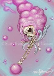 Art: Cotton Candy Dreams - Skeleton Art Day of the Dead Fairy by Artist Misty Benson