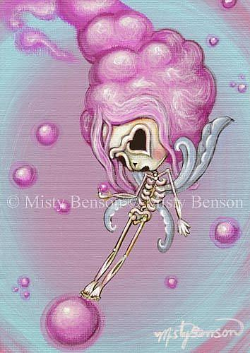 Art: Cotton Candy Dreams - Skeleton Art Day of the Dead Fairy by Artist Misty Monster (Benson)