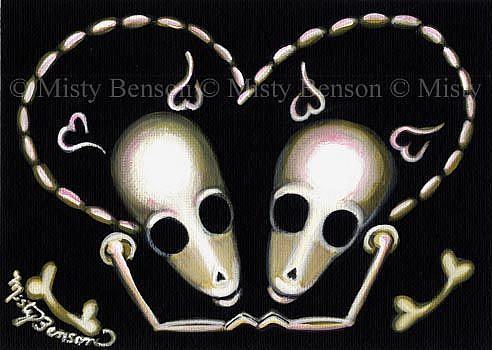 Art: Love - Skelly Dog Style - Skeleton Animal Art Day of the Dead by Artist Misty Monster (Benson)