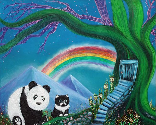 Art: The Panda The Cat and The Rainbow by Artist Laura Barbosa