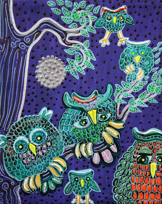 Art: Owl Family by Artist Laura Barbosa