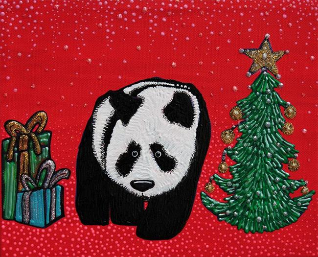 Art: A Panda For Christmas by Artist Laura Barbosa