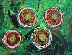 Art: Abstract Flowers by Artist Laura Barbosa