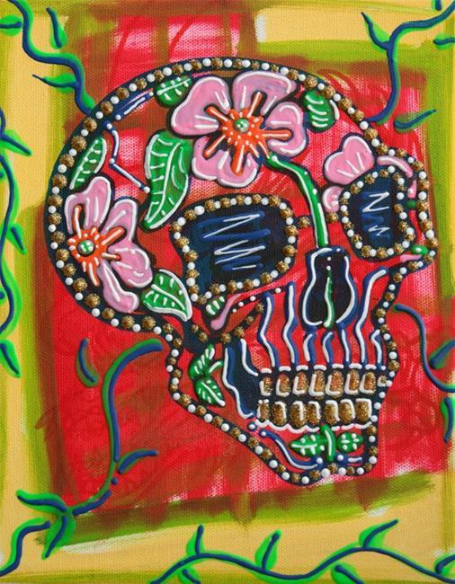 Art: Skull of Flowers by Artist Laura Barbosa