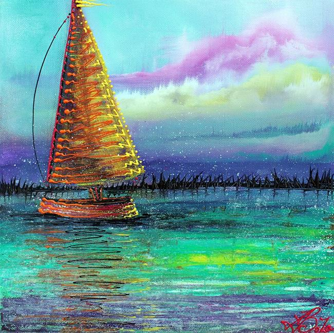 Art: Sailboat Cruise by Artist Laura Barbosa