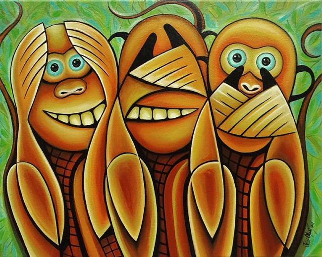 Art: 3 WISE MONKEYS by Artist Javier Martinez